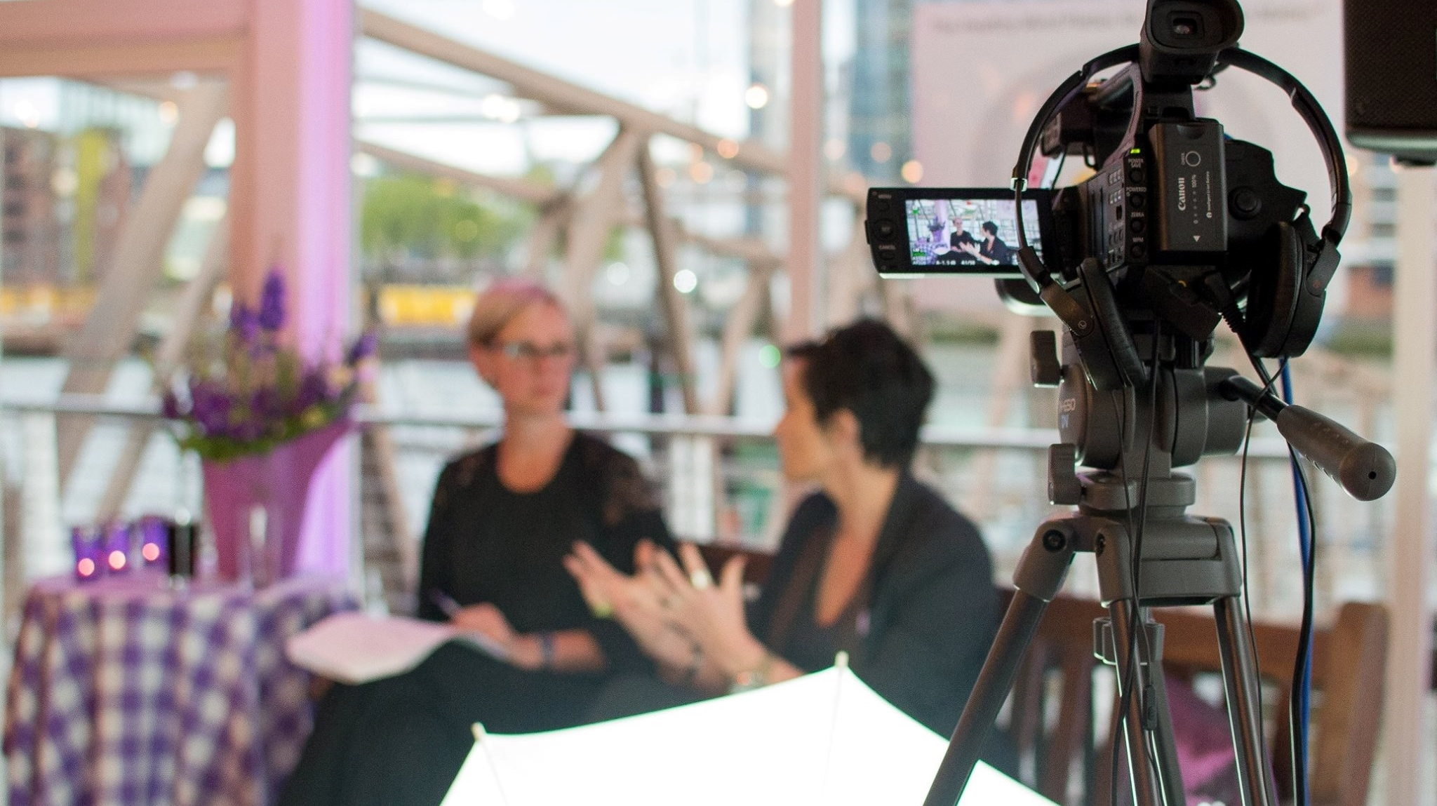 Annemie Ress talking to Tanya Byron at PurpleBeach London Experience 2016